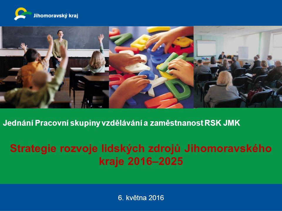 Jednání Pracovní skupiny vzdělávání a zaměstnanost RSK JMK Strategie rozvoje lidských zdrojů Jihomoravského kraje 2016–2025 6.