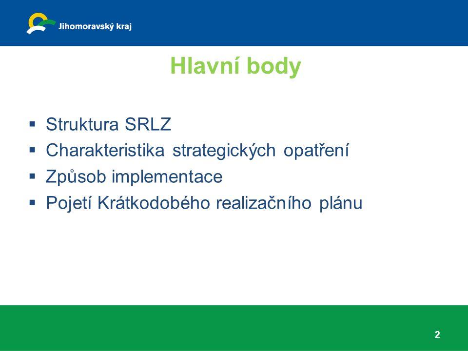 Hlavní body 2  Struktura SRLZ  Charakteristika strategických opatření  Způsob implementace  Pojetí Krátkodobého realizačního plánu
