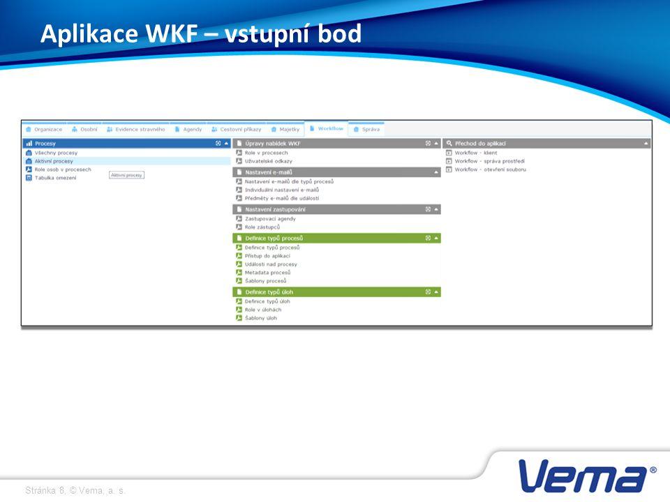 Stránka 8, © Vema, a. s. Aplikace WKF – vstupní bod