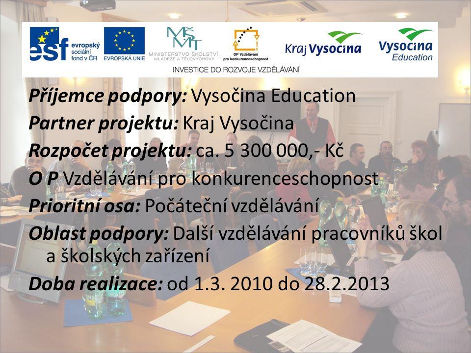Příjemce podpory: Vysočina Education Partner projektu: Kraj Vysočina Rozpočet projektu: ca.