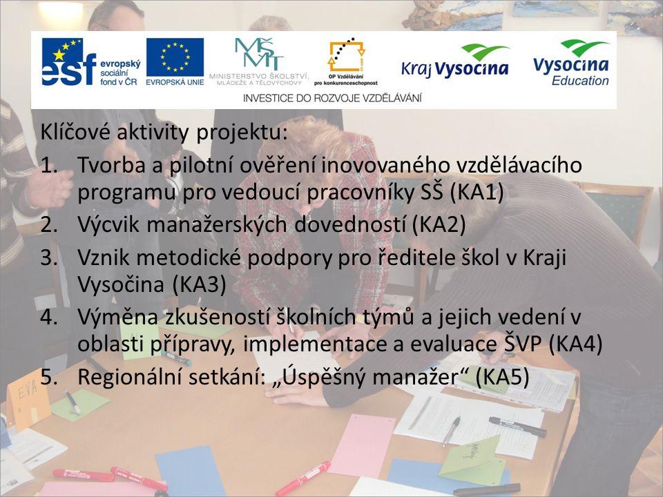 """Klíčové aktivity projektu: 1.Tvorba a pilotní ověření inovovaného vzdělávacího programu pro vedoucí pracovníky SŠ (KA1) 2.Výcvik manažerských dovedností (KA2) 3.Vznik metodické podpory pro ředitele škol v Kraji Vysočina (KA3) 4.Výměna zkušeností školních týmů a jejich vedení v oblasti přípravy, implementace a evaluace ŠVP (KA4) 5.Regionální setkání: """"Úspěšný manažer (KA5)"""