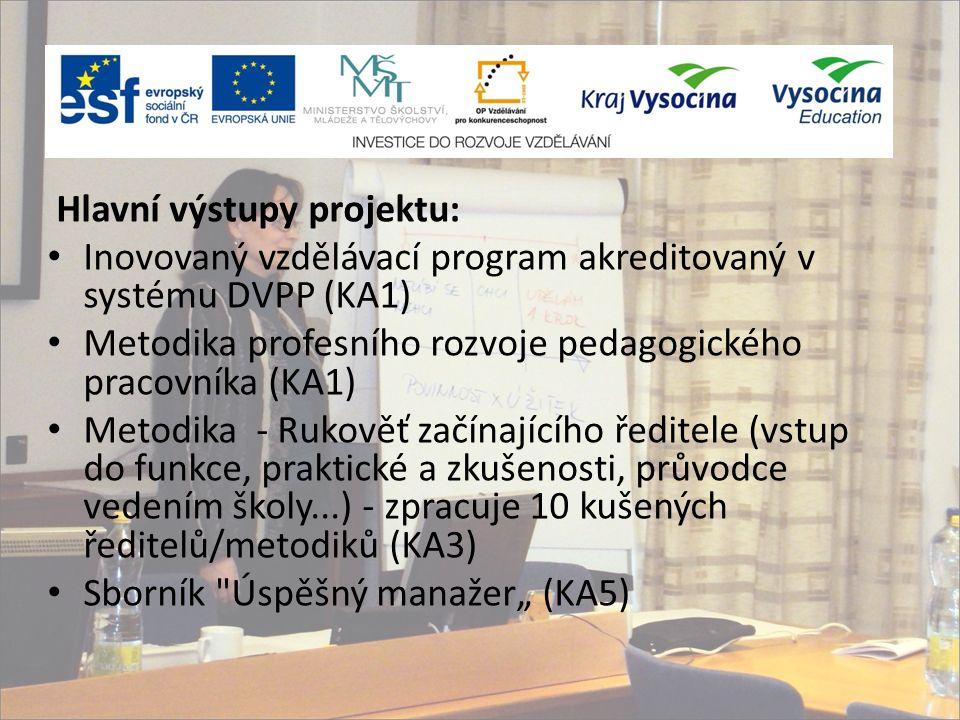"""Hlavní výstupy projektu: Inovovaný vzdělávací program akreditovaný v systému DVPP (KA1) Metodika profesního rozvoje pedagogického pracovníka (KA1) Metodika - Rukověť začínajícího ředitele (vstup do funkce, praktické a zkušenosti, průvodce vedením školy...) - zpracuje 10 kušených ředitelů/metodiků (KA3) Sborník Úspěšný manažer"""" (KA5)"""