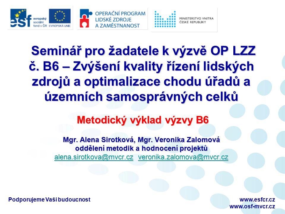 Podporujeme Vaši budoucnostwww.esfcr.cz www.osf-mvcr.cz Seminář pro žadatele k výzvě OP LZZ č.