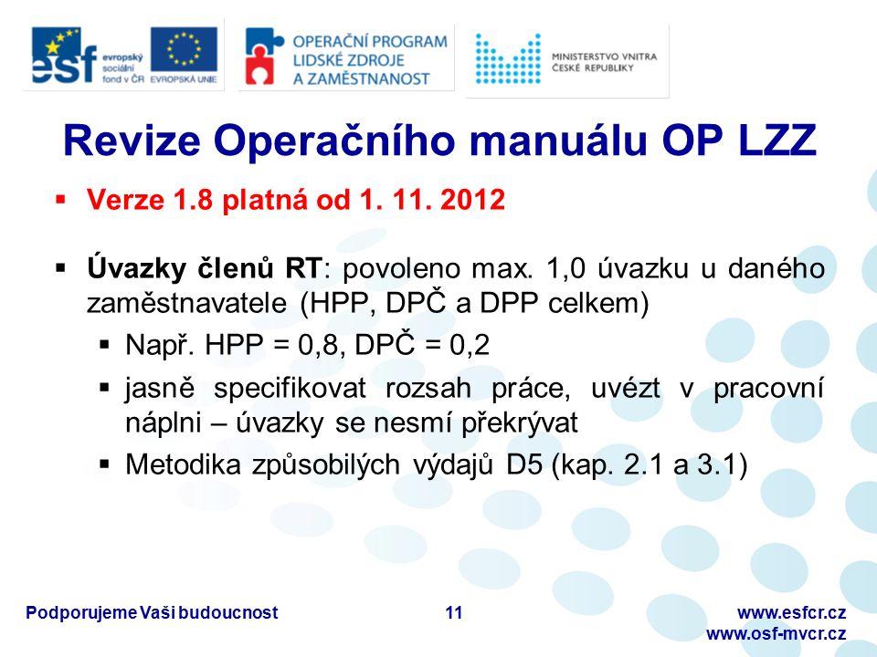 Podporujeme Vaši budoucnostwww.esfcr.cz www.osf-mvcr.cz Revize Operačního manuálu OP LZZ  Verze 1.8 platná od 1.