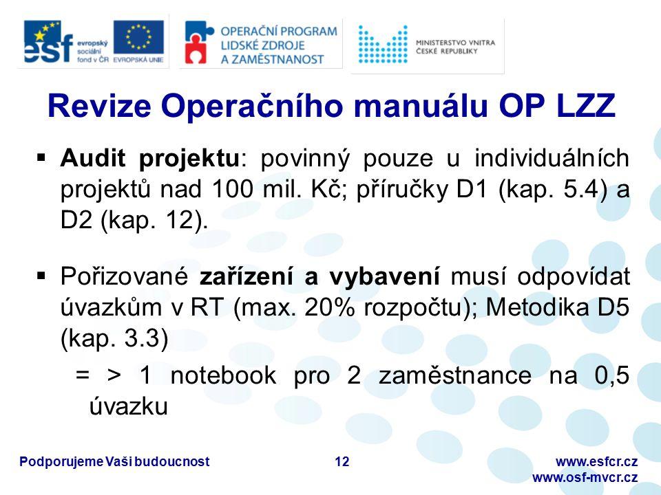 Podporujeme Vaši budoucnostwww.esfcr.cz www.osf-mvcr.cz Revize Operačního manuálu OP LZZ  Audit projektu: povinný pouze u individuálních projektů nad 100 mil.