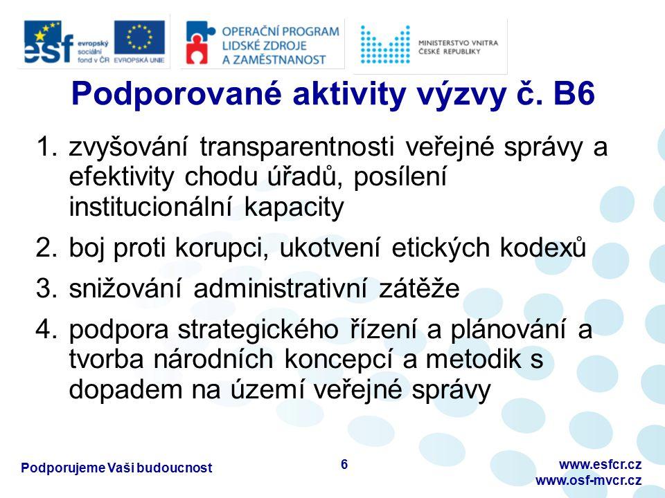 Podporujeme Vaši budoucnost www.esfcr.cz www.osf-mvcr.cz Podporované aktivity výzvy č.