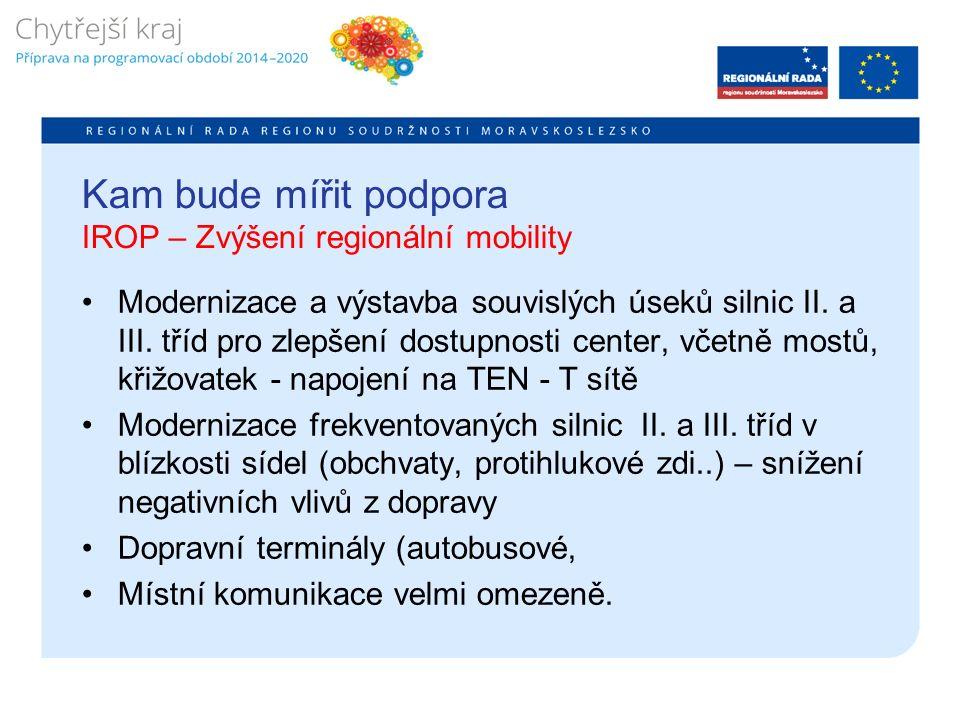 Kam bude mířit podpora IROP – Zvýšení regionální mobility Modernizace a výstavba souvislých úseků silnic II.