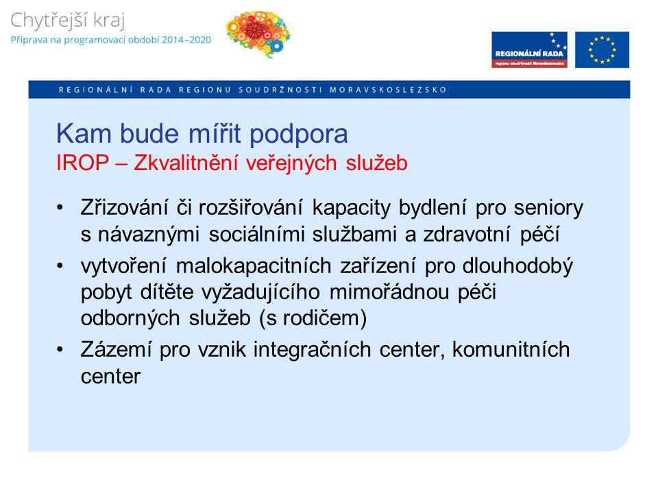Kam bude mířit podpora IROP – Zkvalitnění veřejných služeb Zřizování či rozšiřování kapacity bydlení pro seniory s návaznými sociálními službami a zdravotní péčí vytvoření malokapacitních zařízení pro dlouhodobý pobyt dítěte vyžadujícího mimořádnou péči odborných služeb (s rodičem) Zázemí pro vznik integračních center, komunitních center