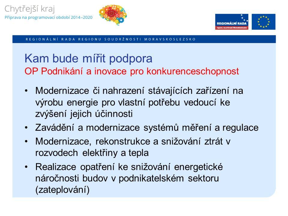 Kam bude mířit podpora OP Podnikání a inovace pro konkurenceschopnost Modernizace či nahrazení stávajících zařízení na výrobu energie pro vlastní potřebu vedoucí ke zvýšení jejich účinnosti Zavádění a modernizace systémů měření a regulace Modernizace, rekonstrukce a snižování ztrát v rozvodech elektřiny a tepla Realizace opatření ke snižování energetické náročnosti budov v podnikatelském sektoru (zateplování)