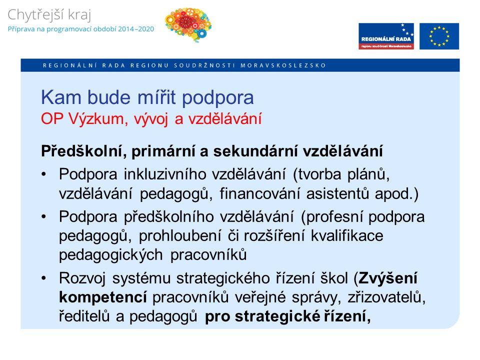 Kam bude mířit podpora OP Výzkum, vývoj a vzdělávání Předškolní, primární a sekundární vzdělávání Podpora inkluzivního vzdělávání (tvorba plánů, vzdělávání pedagogů, financování asistentů apod.) Podpora předškolního vzdělávání (profesní podpora pedagogů, prohloubení či rozšíření kvalifikace pedagogických pracovníků Rozvoj systému strategického řízení škol (Zvýšení kompetencí pracovníků veřejné správy, zřizovatelů, ředitelů a pedagogů pro strategické řízení,