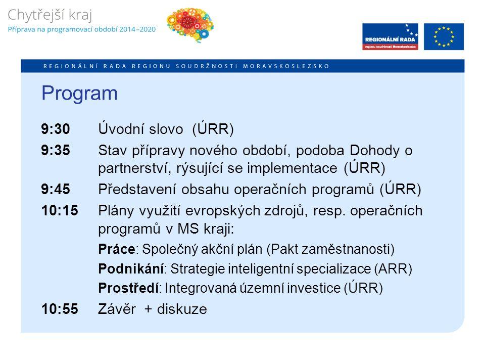 Program 9:30 Úvodní slovo (ÚRR) 9:35 Stav přípravy nového období, podoba Dohody o partnerství, rýsující se implementace (ÚRR) 9:45 Představení obsahu operačních programů (ÚRR) 10:15 Plány využití evropských zdrojů, resp.