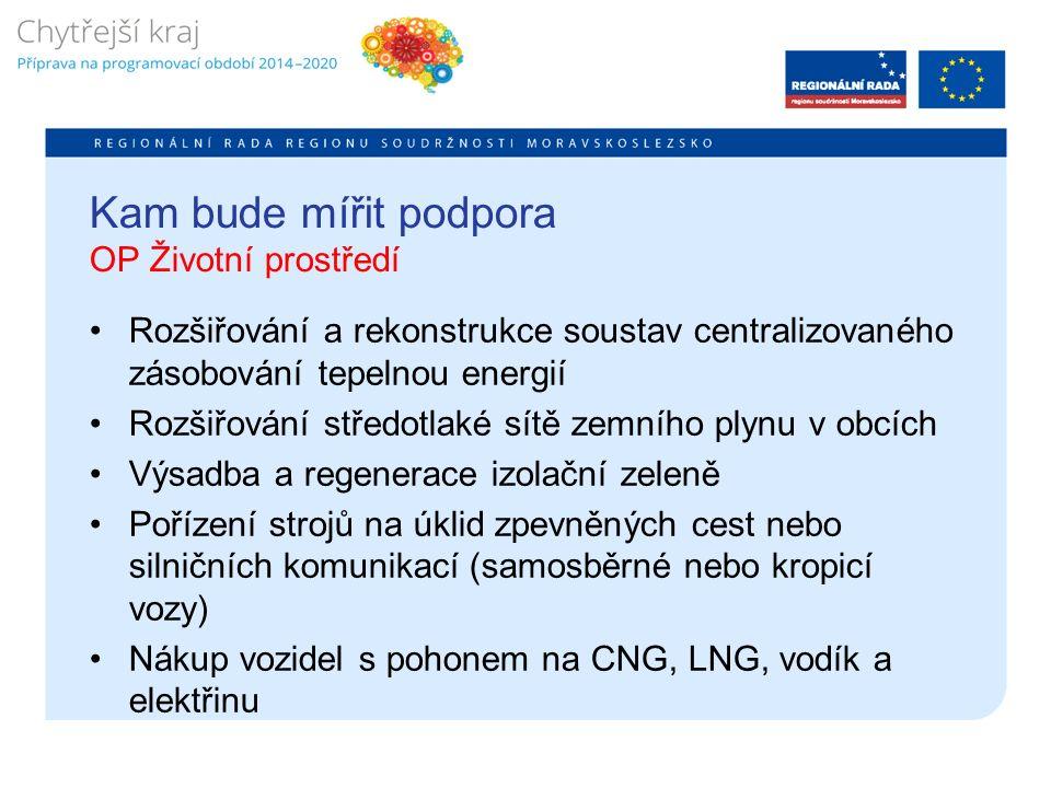 Kam bude mířit podpora OP Životní prostředí Rozšiřování a rekonstrukce soustav centralizovaného zásobování tepelnou energií Rozšiřování středotlaké sítě zemního plynu v obcích Výsadba a regenerace izolační zeleně Pořízení strojů na úklid zpevněných cest nebo silničních komunikací (samosběrné nebo kropicí vozy) Nákup vozidel s pohonem na CNG, LNG, vodík a elektřinu