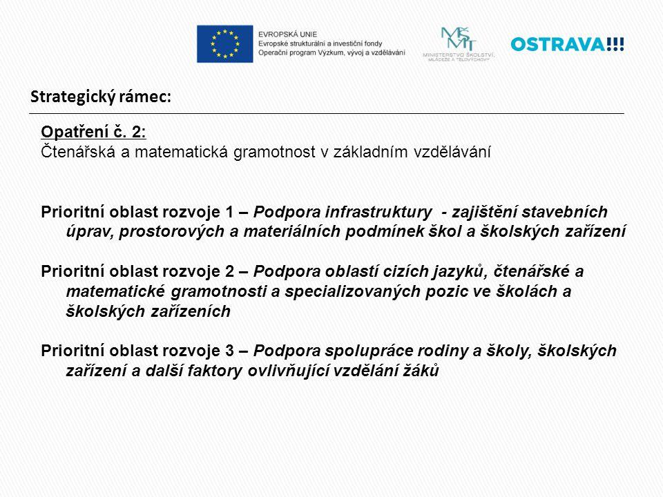 Strategický rámec: Opatření č. 2: Čtenářská a matematická gramotnost v základním vzdělávání Prioritní oblast rozvoje 1 – Podpora infrastruktury - zaji