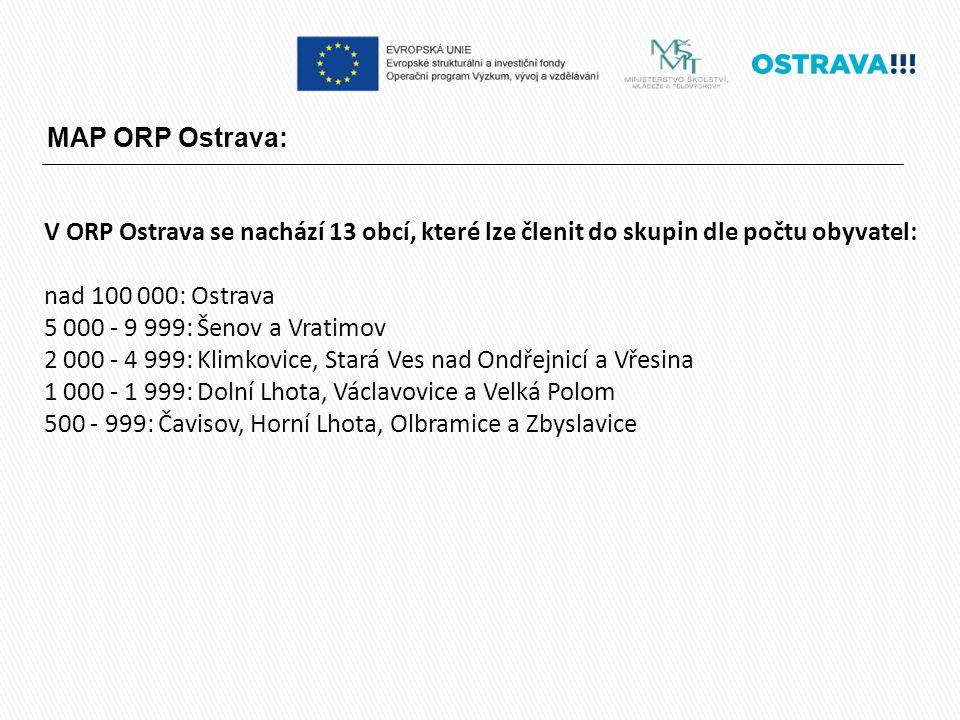 MAP ORP Ostrava: V ORP Ostrava se nachází 13 obcí, které lze členit do skupin dle počtu obyvatel: nad 100 000: Ostrava 5 000 - 9 999: Šenov a Vratimov 2 000 - 4 999: Klimkovice, Stará Ves nad Ondřejnicí a Vřesina 1 000 - 1 999: Dolní Lhota, Václavovice a Velká Polom 500 - 999: Čavisov, Horní Lhota, Olbramice a Zbyslavice