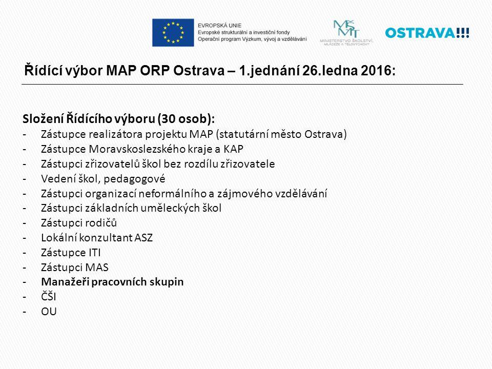 Řídící výbor MAP ORP Ostrava – 1.jednání 26.ledna 2016: Složení Řídícího výboru (30 osob): -Zástupce realizátora projektu MAP (statutární město Ostrav