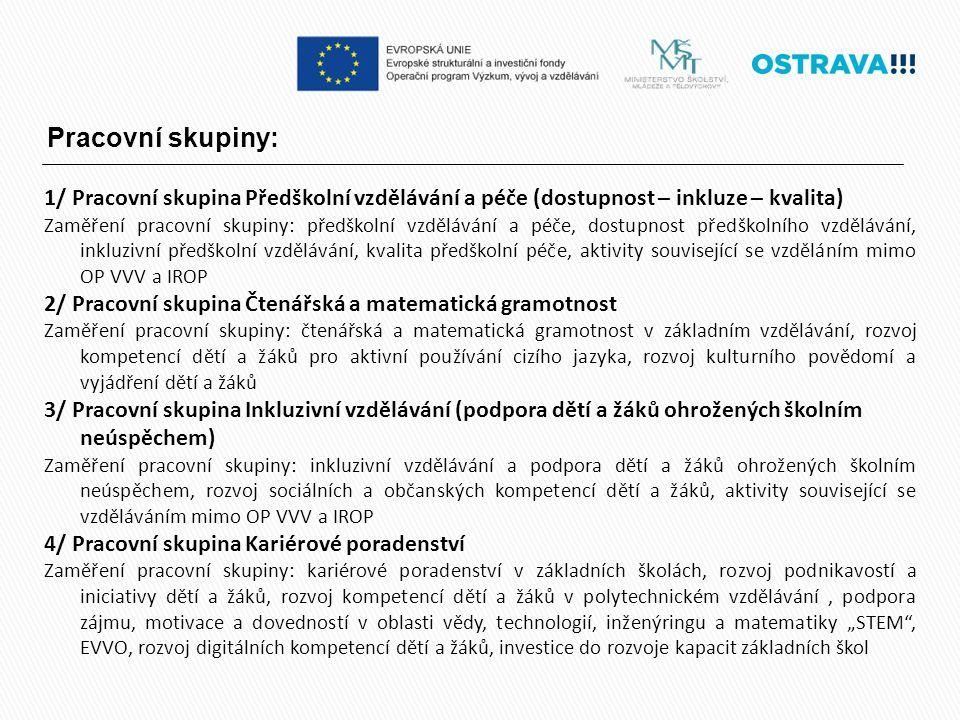 Pracovní skupiny: 1/ Pracovní skupina Předškolní vzdělávání a péče (dostupnost – inkluze – kvalita) Zaměření pracovní skupiny: předškolní vzdělávání a