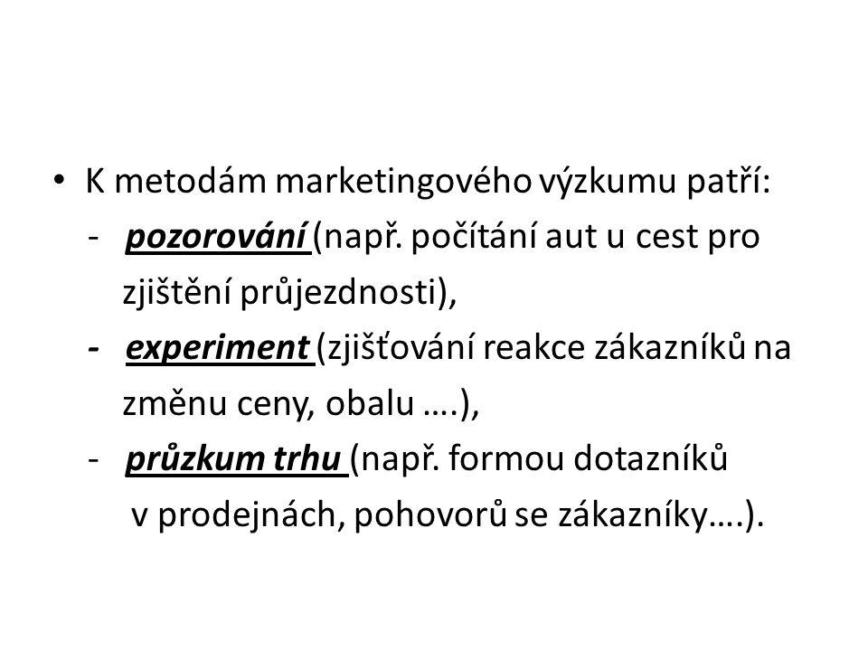K metodám marketingového výzkumu patří: - pozorování (např.