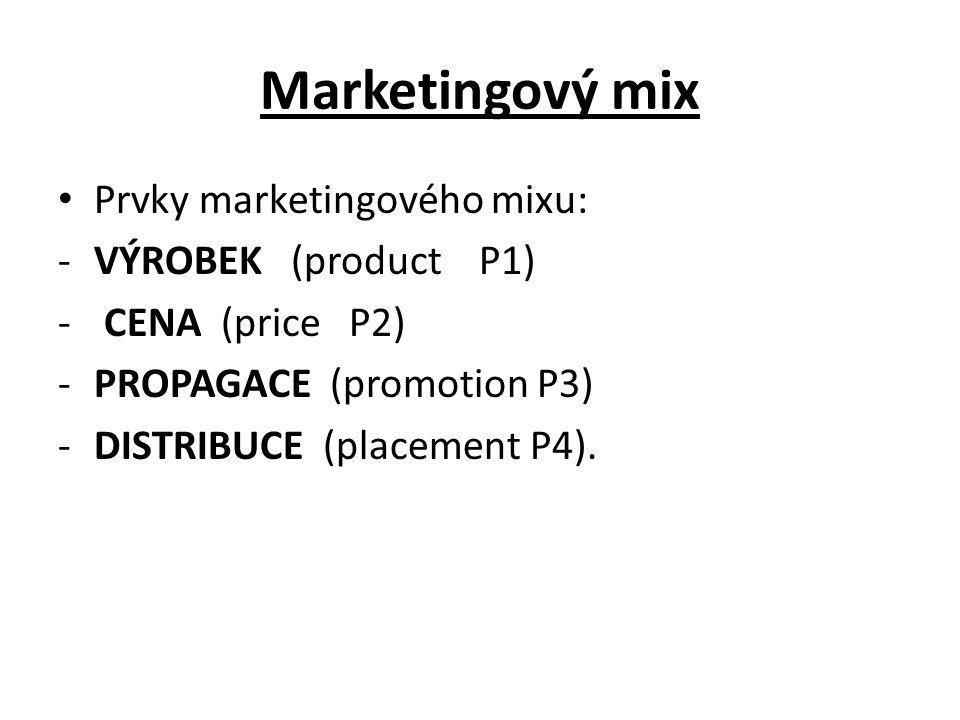Marketingový mix Prvky marketingového mixu: -VÝROBEK (product P1) - CENA (price P2) -PROPAGACE (promotion P3) -DISTRIBUCE (placement P4).