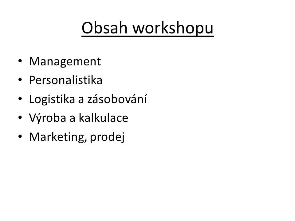 Obsah workshopu Management Personalistika Logistika a zásobování Výroba a kalkulace Marketing, prodej
