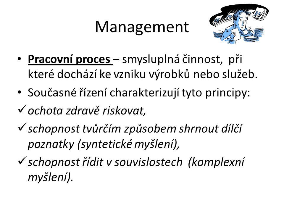 Management Pracovní proces – smysluplná činnost, při které dochází ke vzniku výrobků nebo služeb.