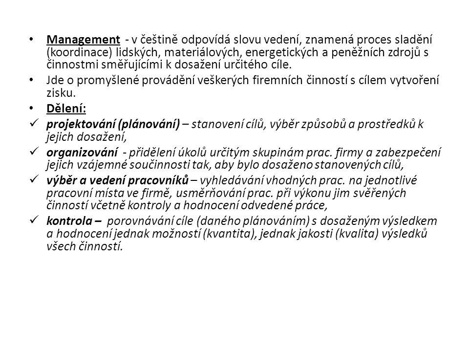 Management - v češtině odpovídá slovu vedení, znamená proces sladění (koordinace) lidských, materiálových, energetických a peněžních zdrojů s činnostmi směřujícími k dosažení určitého cíle.