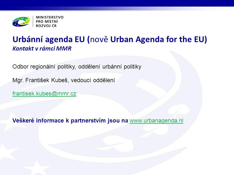 Odbor regionální politiky, oddělení urbánní politiky Mgr.
