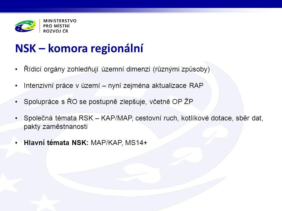 Řídicí orgány zohledňují územní dimenzi (různými způsoby) Intenzivní práce v území – nyní zejména aktualizace RAP Spolupráce s ŘO se postupně zlepšuje, včetně OP ŽP Společná témata RSK – KAP/MAP, cestovní ruch, kotlíkové dotace, sběr dat, pakty zaměstnanosti Hlavní témata NSK: MAP/KAP, MS14+ NSK – komora regionální
