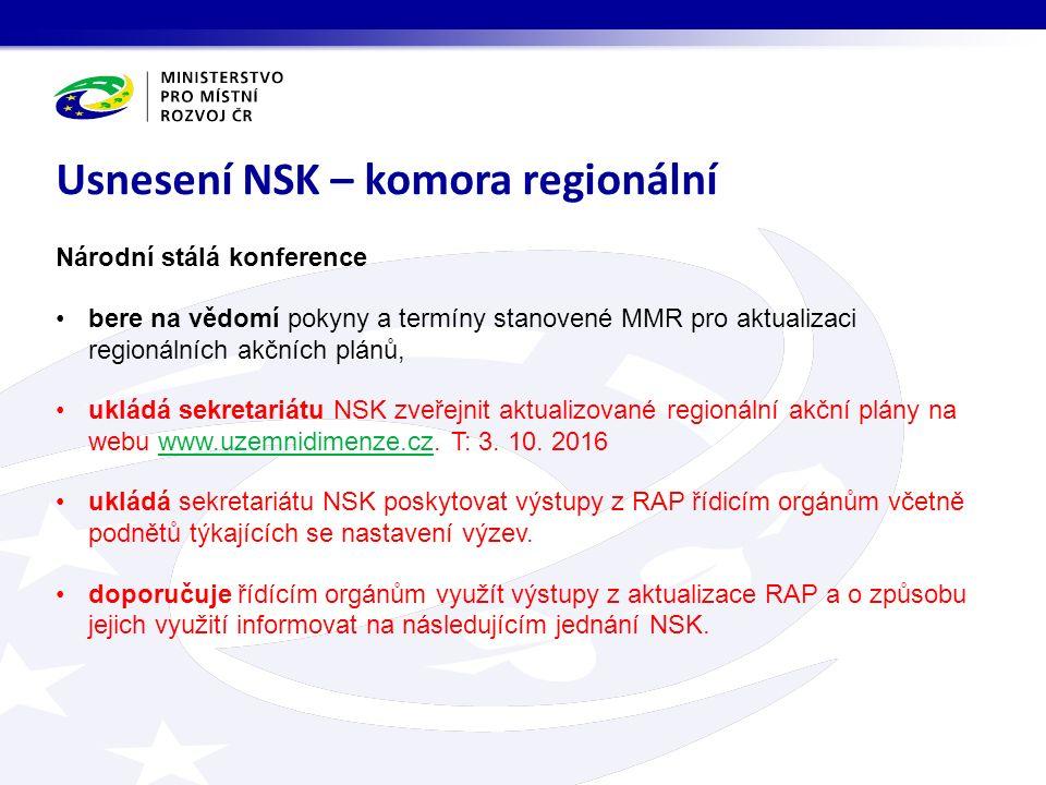Národní stálá konference bere na vědomí pokyny a termíny stanovené MMR pro aktualizaci regionálních akčních plánů, ukládá sekretariátu NSK zveřejnit aktualizované regionální akční plány na webu www.uzemnidimenze.cz.