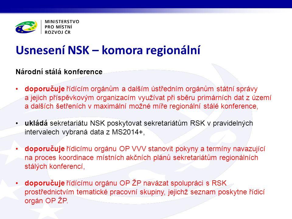 Národní stálá konference doporučuje řídícím orgánům a dalším ústředním orgánům státní správy a jejich příspěvkovým organizacím využívat při sběru primárních dat z území a dalších šetřeních v maximální možné míře regionální stálé konference, ukládá sekretariátu NSK poskytovat sekretariátům RSK v pravidelných intervalech vybraná data z MS2014+, doporučuje řídicímu orgánu OP VVV stanovit pokyny a termíny navazující na proces koordinace místních akčních plánů sekretariátům regionálních stálých konferencí, doporučuje řídícímu orgánu OP ŽP navázat spolupráci s RSK prostřednictvím tematické pracovní skupiny, jejichž seznam poskytne řídicí orgán OP ŽP.