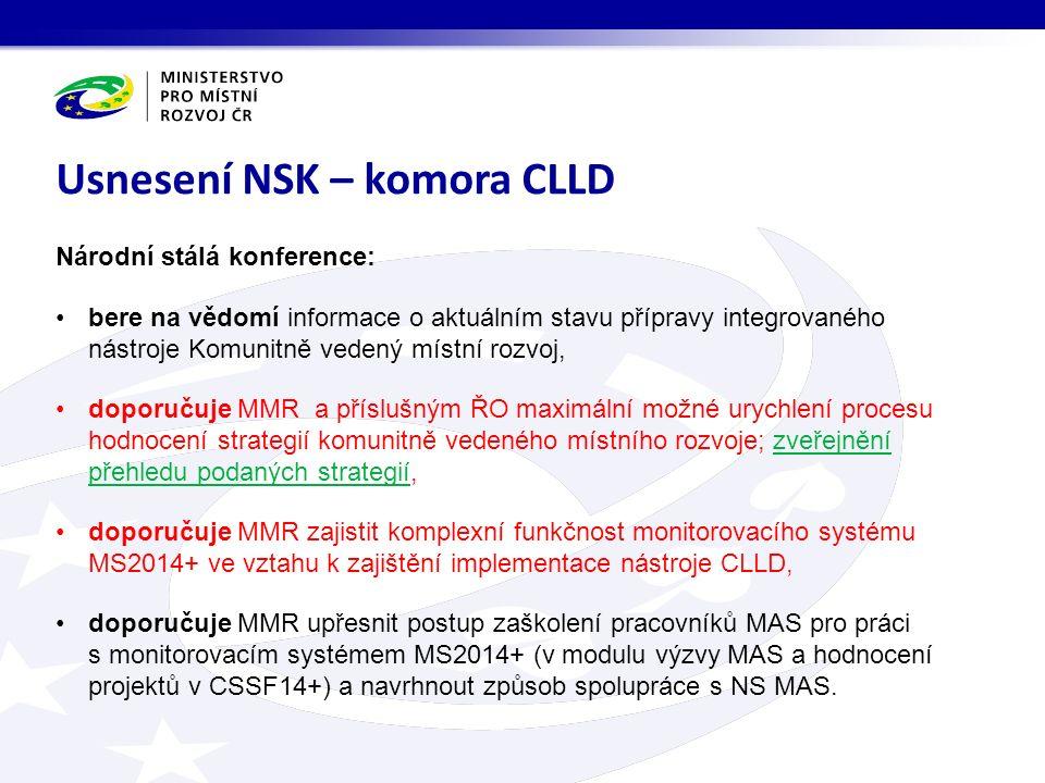 Národní stálá konference: bere na vědomí informace o aktuálním stavu přípravy integrovaného nástroje Komunitně vedený místní rozvoj, doporučuje MMR a