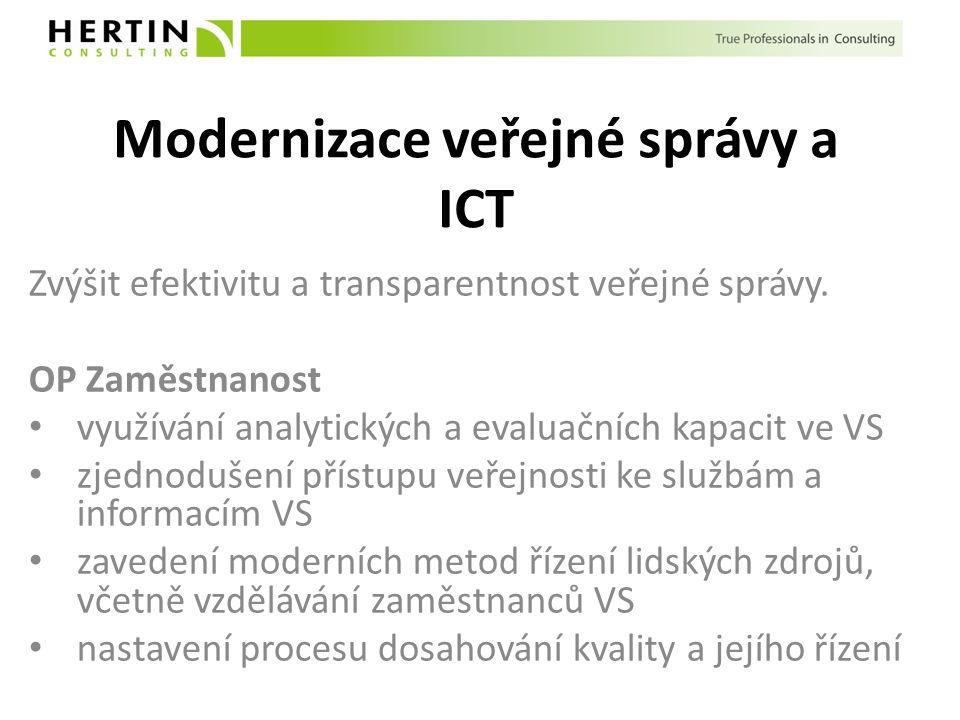 Modernizace veřejné správy a ICT Zvýšit efektivitu a transparentnost veřejné správy. OP Zaměstnanost využívání analytických a evaluačních kapacit ve V