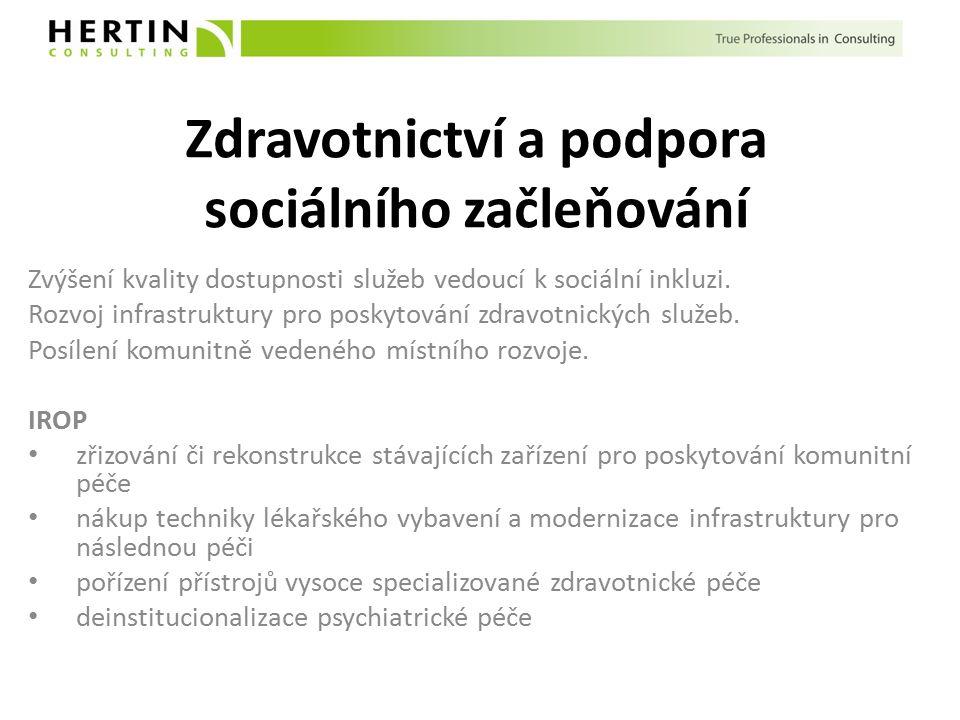 Zdravotnictví a podpora sociálního začleňování Zvýšení kvality dostupnosti služeb vedoucí k sociální inkluzi. Rozvoj infrastruktury pro poskytování zd