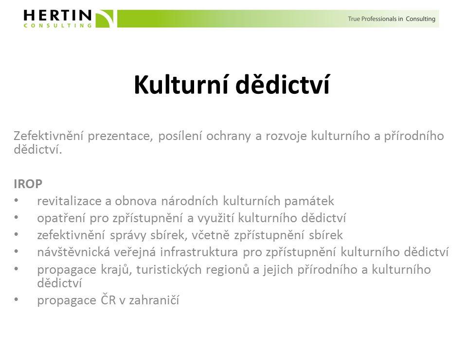 Kulturní dědictví Zefektivnění prezentace, posílení ochrany a rozvoje kulturního a přírodního dědictví.