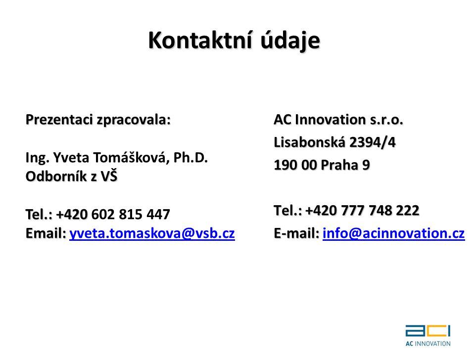 Kontaktní údaje Prezentaci zpracovala: Ing. Yveta Tomášková, Ph.D.