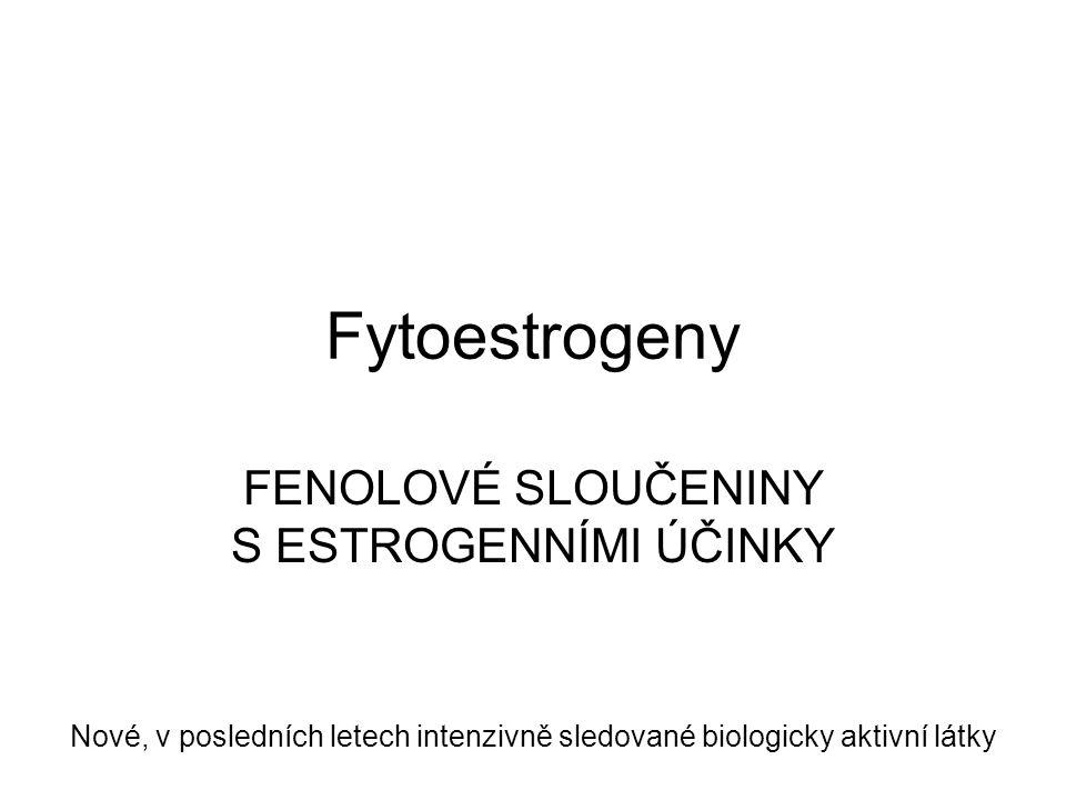 Fytoestrogeny FENOLOVÉ SLOUČENINY S ESTROGENNÍMI ÚČINKY Nové, v posledních letech intenzivně sledované biologicky aktivní látky