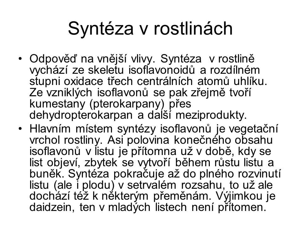 Syntéza v rostlinách Odpověď na vnější vlivy. Syntéza v rostlině vychází ze skeletu isoflavonoidů a rozdílném stupni oxidace třech centrálních atomů u