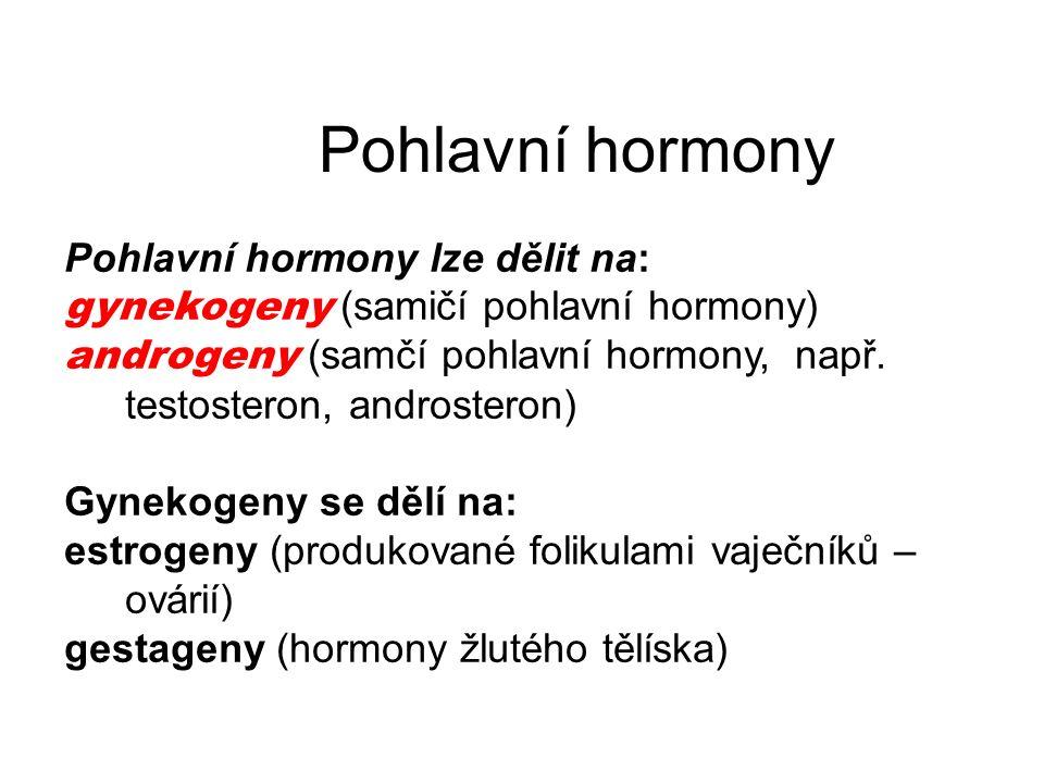 Pohlavní hormony Pohlavní hormony lze dělit na: gynekogeny (samičí pohlavní hormony) androgeny (samčí pohlavní hormony, např. testosteron, androsteron