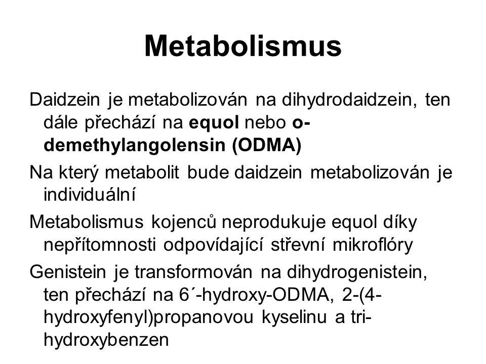 Metabolismus Daidzein je metabolizován na dihydrodaidzein, ten dále přechází na equol nebo o- demethylangolensin (ODMA) Na který metabolit bude daidze