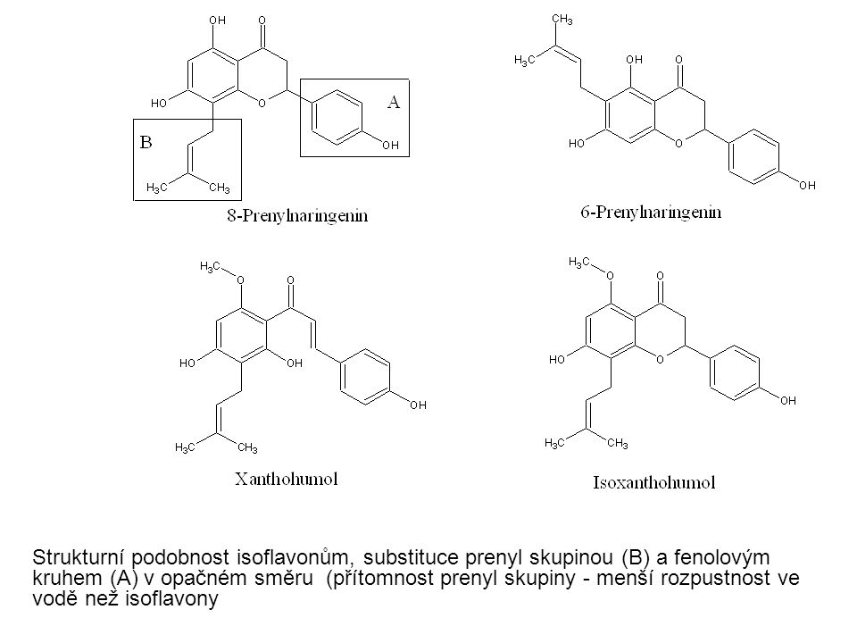 Strukturní podobnost isoflavonům, substituce prenyl skupinou (B) a fenolovým kruhem (A) v opačném směru (přítomnost prenyl skupiny - menší rozpustnost