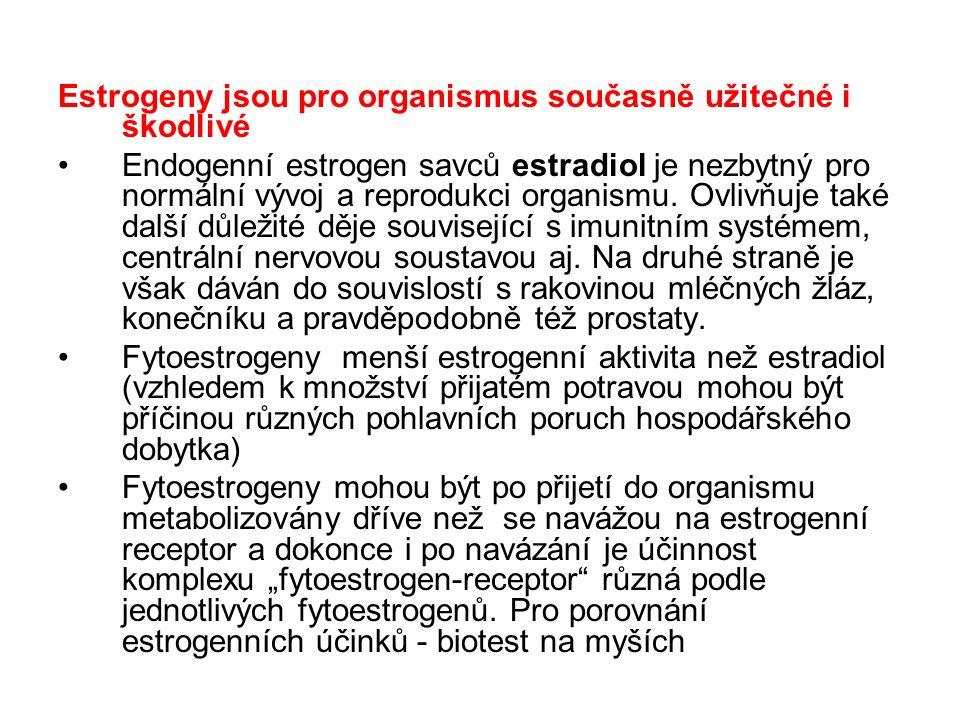 Estrogeny jsou pro organismus současně užitečné i škodlivé Endogenní estrogen savců estradiol je nezbytný pro normální vývoj a reprodukci organismu. O