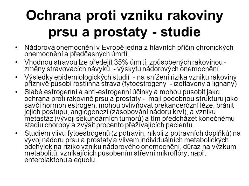 Ochrana proti vzniku rakoviny prsu a prostaty - studie Nádorová onemocnění v Evropě jedna z hlavních příčin chronických onemocnění a předčasných úmrtí