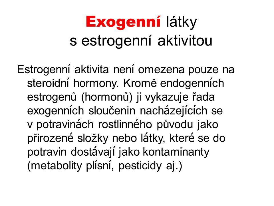 Exogenní látky s estrogenní aktivitou Estrogenn í aktivita nen í omezena pouze na steroidn í hormony. Kromě endogenn í ch estrogenů (hormonů) ji vykaz