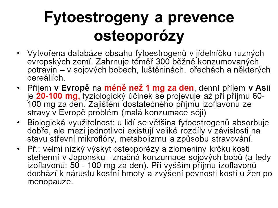 Fytoestrogeny a prevence osteoporózy Vytvořena databáze obsahu fytoestrogenů v jídelníčku různých evropských zemí. Zahrnuje téměř 300 běžně konzumovan