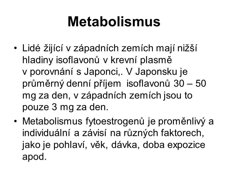 Metabolismus Lidé žijící v západních zemích mají nižší hladiny isoflavonů v krevní plasmě v porovnání s Japonci,. V Japonsku je průměrný denní příjem