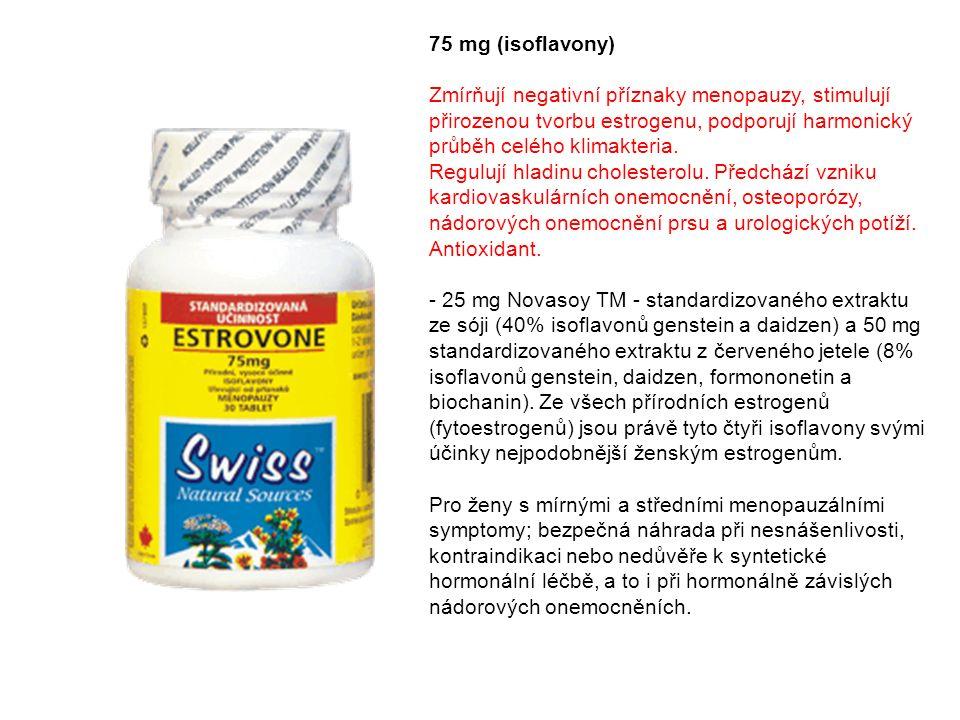75 mg (isoflavony) Zmírňují negativní příznaky menopauzy, stimulují přirozenou tvorbu estrogenu, podporují harmonický průběh celého klimakteria. Regul