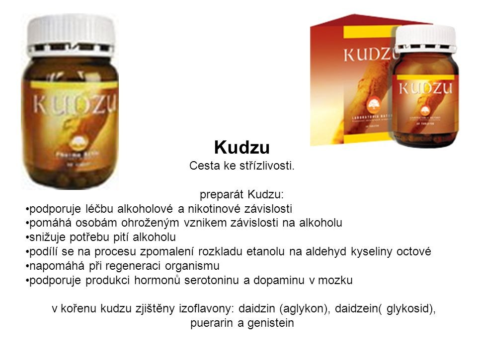 Kudzu Cesta ke střízlivosti. preparát Kudzu: podporuje léčbu alkoholové a nikotinové závislosti pomáhá osobám ohroženým vznikem závislosti na alkoholu