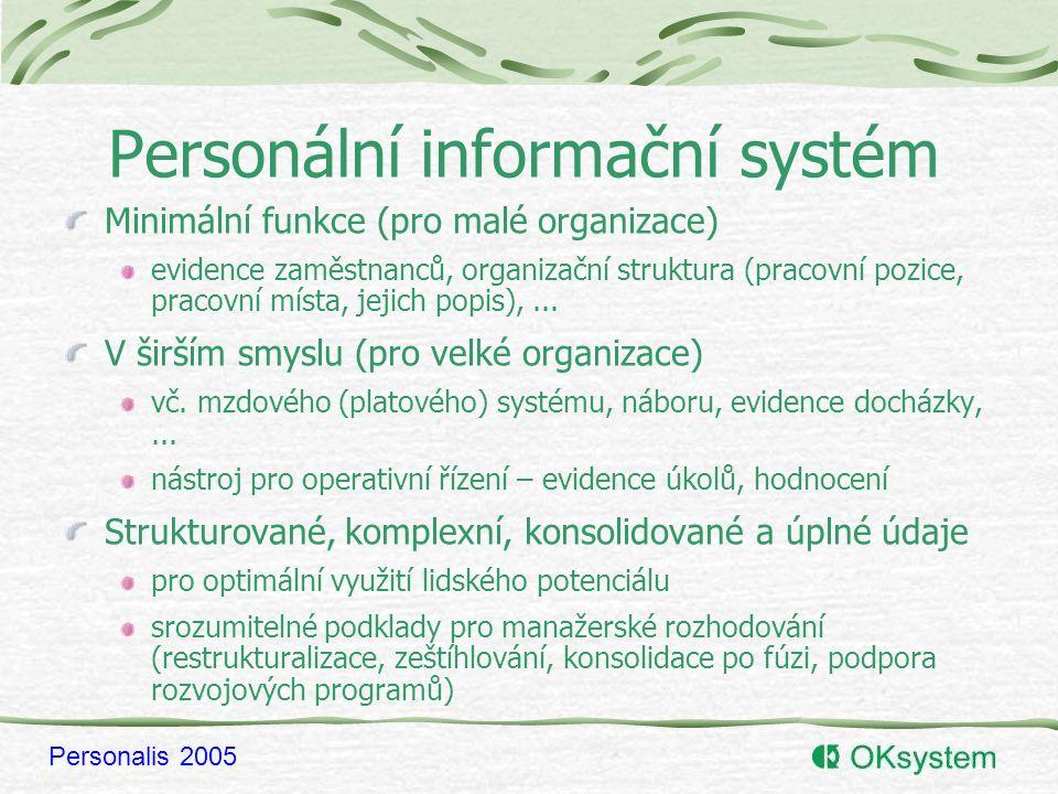 Personalis 2005 Personální informační systém Minimální funkce (pro malé organizace) evidence zaměstnanců, organizační struktura (pracovní pozice, pracovní místa, jejich popis),...