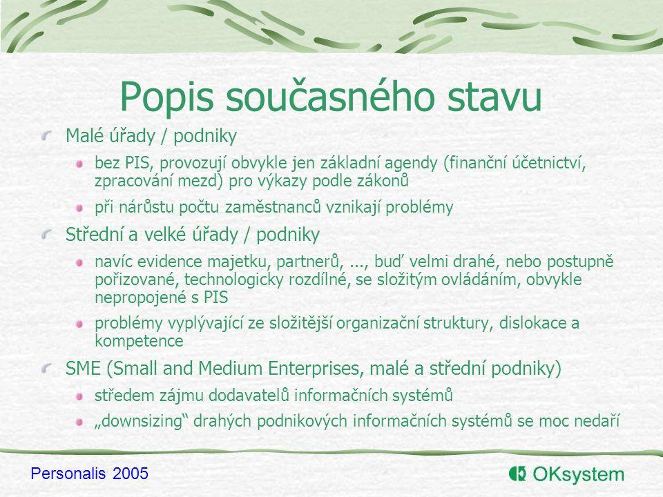 """Personalis 2005 Česká specifika Složitá, nepřehledná a stále se měnící legislativa zákoník práce, daně, mzdové předpisy, sociální a zdravotní pojištění -> brání úspěšné lokalizaci zahraničních PIS Odklady zákona o státní službě v roce 2001 (?) byly zahájeny přípravné práce na propojení PIS, vznik GŘ státní služby, návrh standardu (elektronického) průkazu zaměstnance veřejné správy Český trh je malý investice do vývoje rozsáhlého a obecného systému se nevyplatí východiska: PIS s uplatněním moderních technologií pro SME (""""rightsizing ), modulární PIS s vazbou na zahraniční podnikový informační systém, možnost uplatnění vybraných modulů i v zahraničí"""