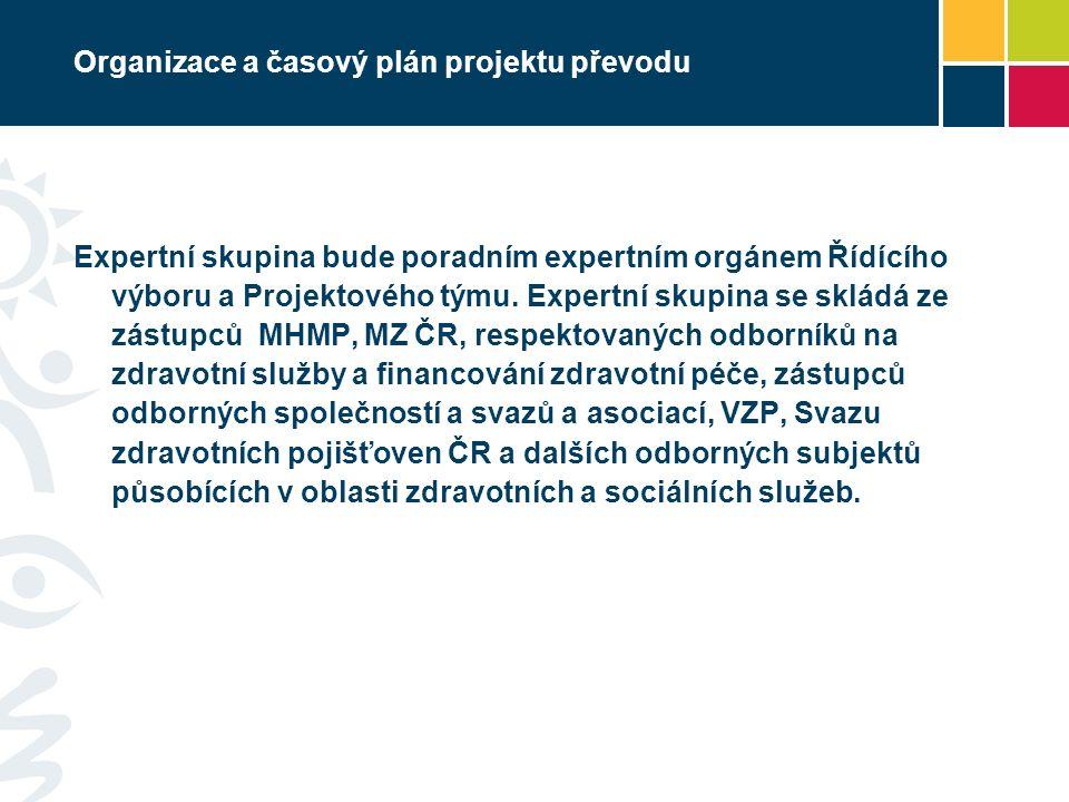 Organizace a časový plán projektu převodu Expertní skupina bude poradním expertním orgánem Řídícího výboru a Projektového týmu.