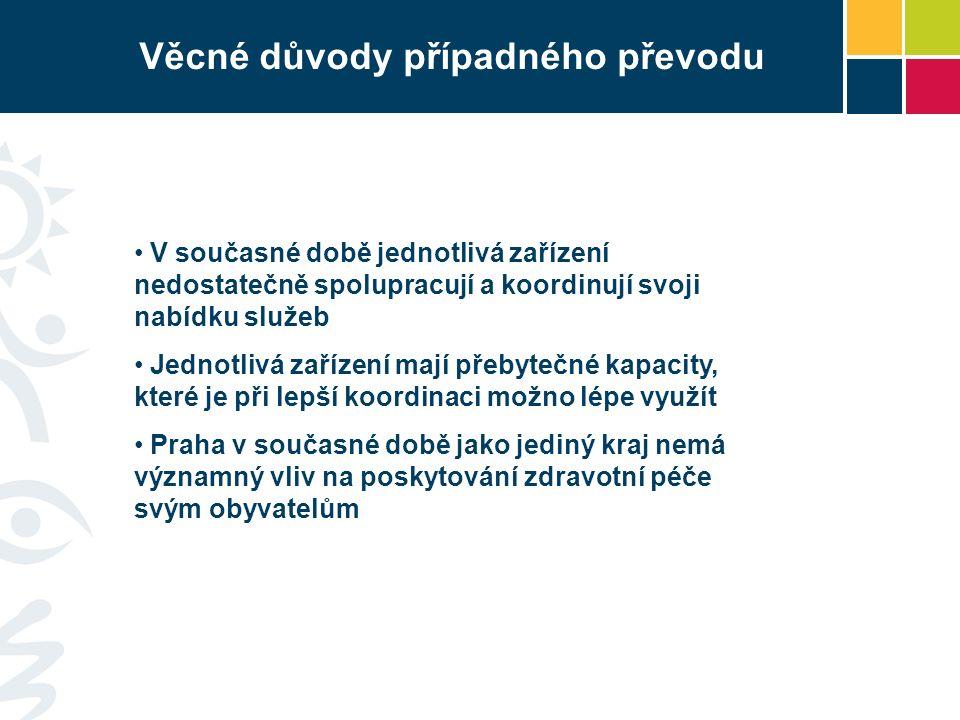 Věcné důvody případného převodu V současné době jednotlivá zařízení nedostatečně spolupracují a koordinují svoji nabídku služeb Jednotlivá zařízení mají přebytečné kapacity, které je při lepší koordinaci možno lépe využít Praha v současné době jako jediný kraj nemá významný vliv na poskytování zdravotní péče svým obyvatelům